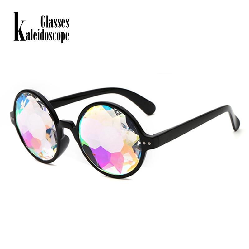 Kaleidoscope Glasses Rave Men Round Kaleidoscope Sunglasses Women Party Psychedelic Prism Diffracted Lens EDM Sunglasses Female
