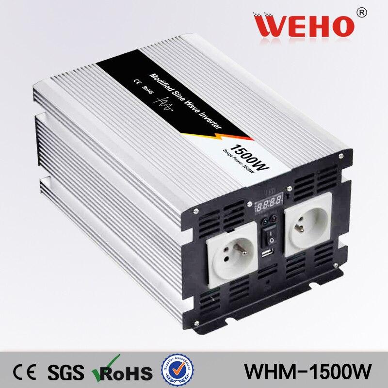 цена на (WHM-1500-122)China Modified sine wave 12v to 230v dc/ac 1500w power inverter
