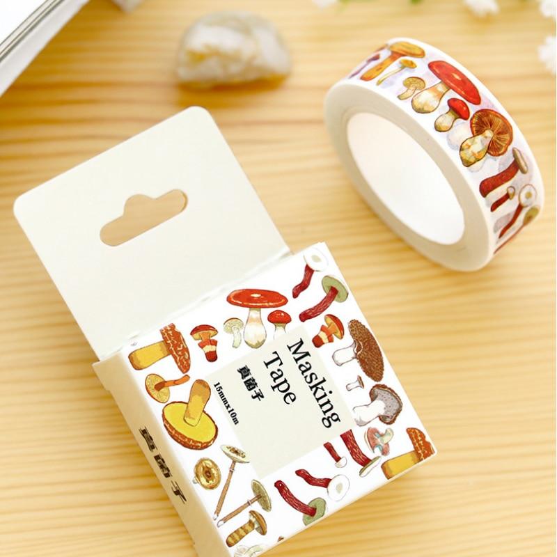 1.5cm*10m Various Mushroom washi tape DIY decoration scrapbooking masking tape adhesive tape kawaii stationery triangle masking tape
