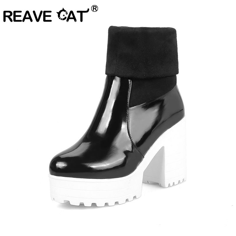REAVE CAT Winter Shoes Woman Ankle Boots ladies shoes Platform Boots Women Ladies Warm Stretch Snow Boots Chaussure Femme A1184-in Ankle Boots from Shoes    1