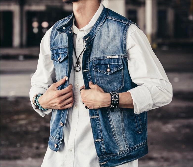 59b09b9abf7e7 2014 New Spring Autumn Vintage Men Denim Vests Fashion Slim Jeans  Sleeveless Denim Jacket Men Cotton Short Waistcoat Jean Vest