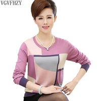 2018 Spring and Autumn mother clothing middle aged women's long sleeved shirt loose O neck knit women pullover Sweaters Tops