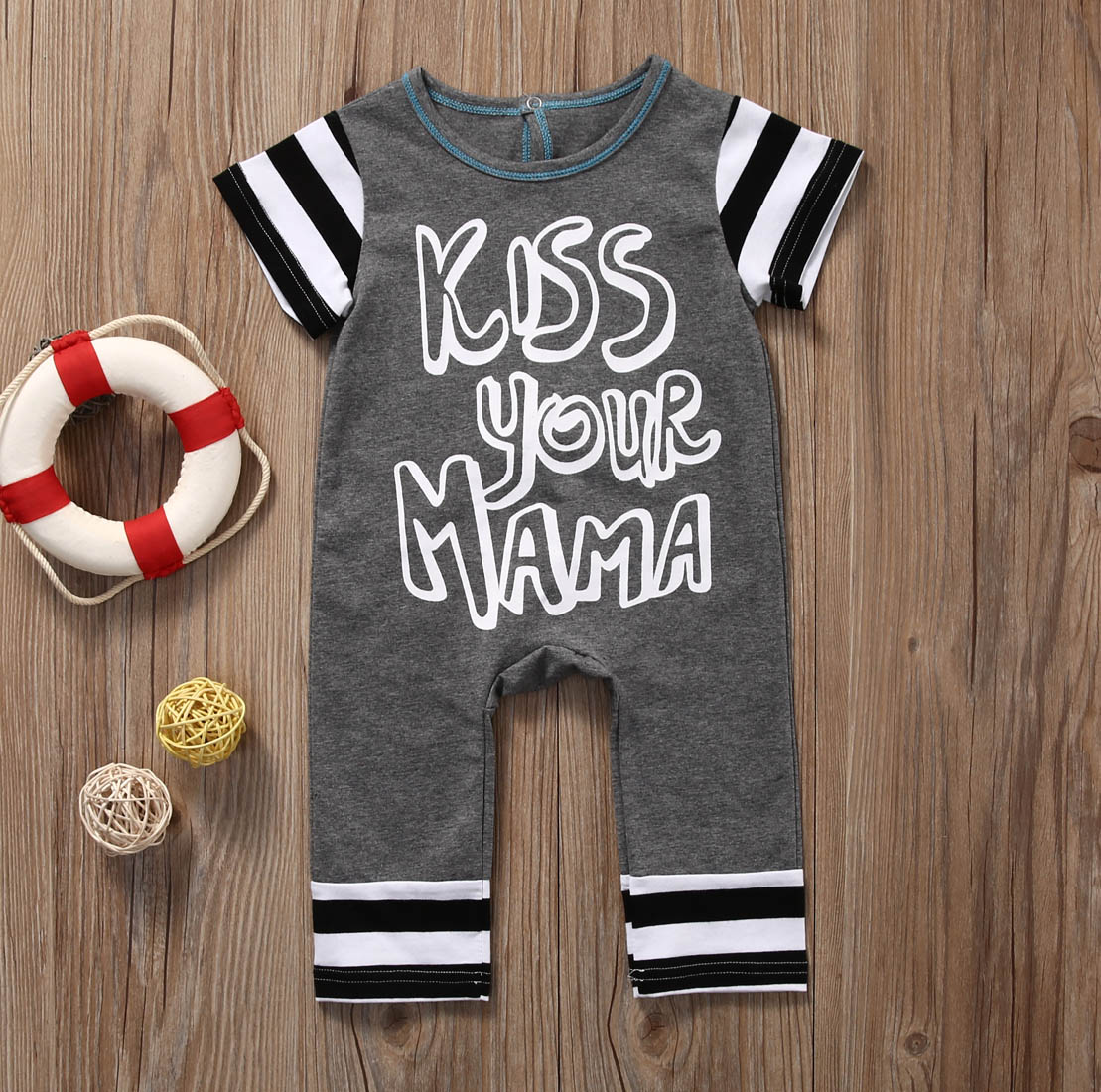 c8e8867ffb70 Cute Newborn Infant Baby Boy Girl Kiss Your Mama Short Sleeve Romper  Jumpsuit Cotton Clothes Outfit -in Rompers from Mother   Kids on  Aliexpress.com ...