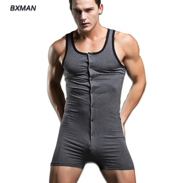 Men Sexy All in one Pyjamas Onesie Sleepwear Clothes Solid Modern Style Sexy Bodysuit Men