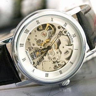 Fashion Casual Brand Design Men Steampunk Skeleton Hollow Genuine Leather Round Dial Automatic Mechanical Business Wrist