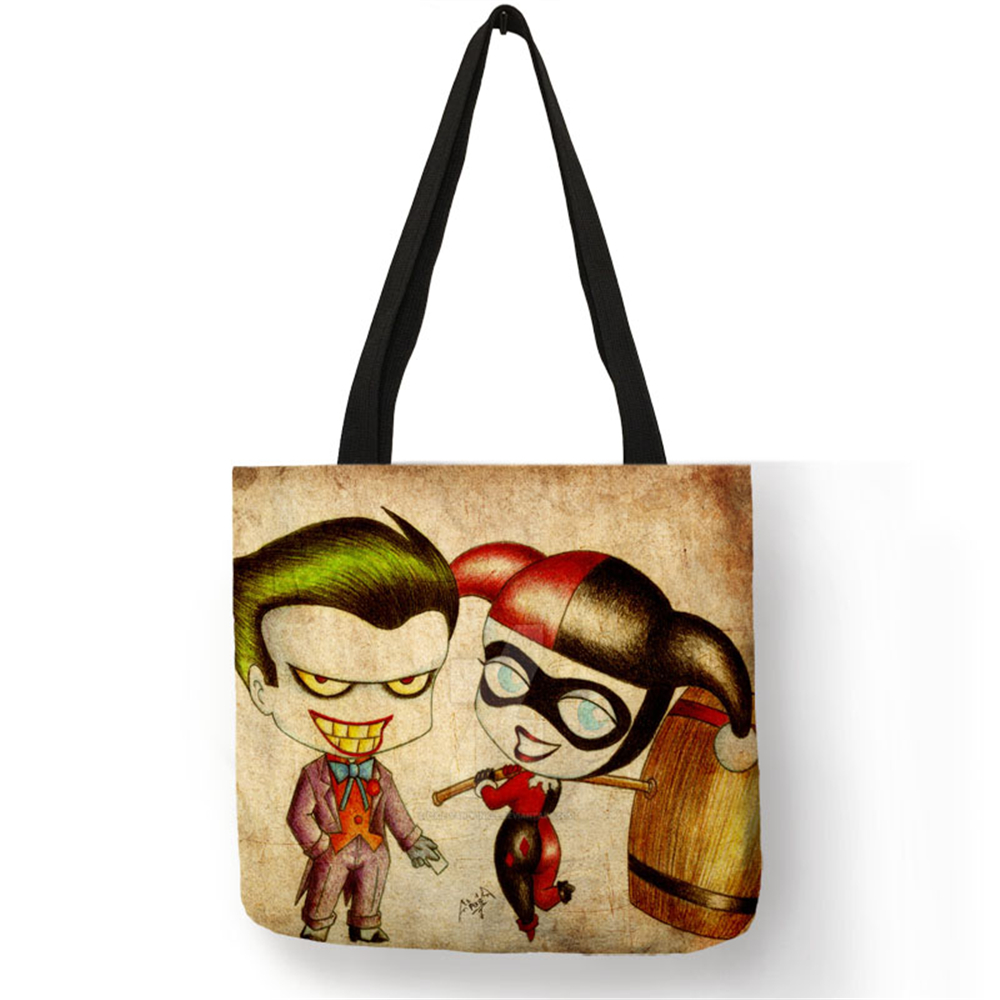 Novelty Pattern Bag Sac A Main Cartoon Series Character Joker Shoulder Bag Linen Fabric Reusable Work Shopper Handbag for Women tote bags for work