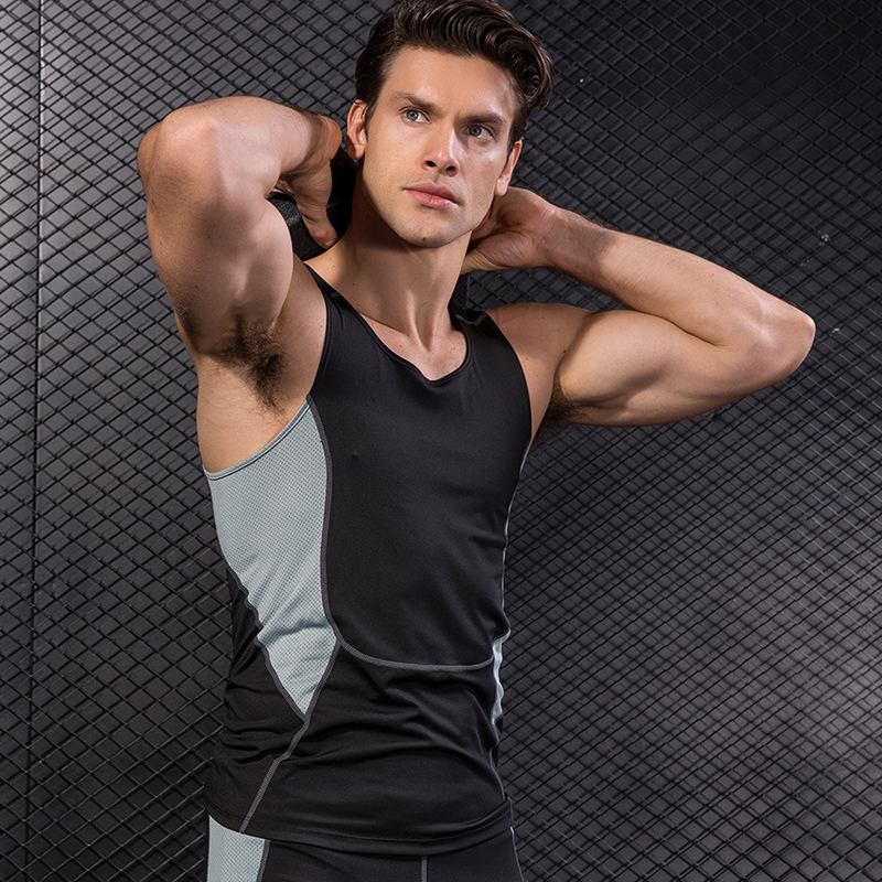 ca1411cef8a28 YD 2017 Logo Custom Quick Dry Running Vest Training Sleeveless Workout Tank  Top Fitness Tights Men Sport Suit Gym Man s T Shirt-in Running Vests from  Sports ...
