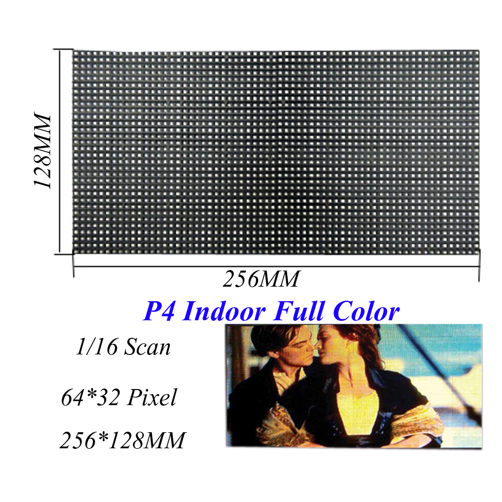 Indoor LED Screen Display P4 256*128MM 64*32 Pixel 1/16 Scan 3 in1 SMD2121 RGB Full Color LED Module Displays For LED Video Wall led screen indoor display p4 256 128mm 64 32 pixel 1 8 scan 3 in1 smd2121 rgb full color led module dot for led video wall sign