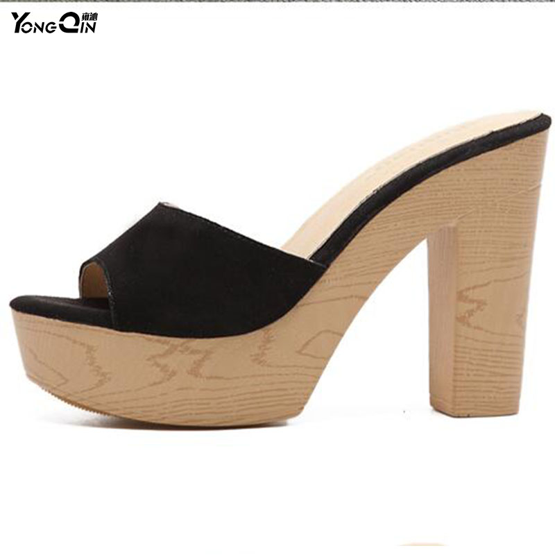 2017 Korean Peep Toe  Thick High Heels Shoes Suede Leather Women Sandals Summer Comfortable Slippers Shoes 2016 summer diamond purple peep toe high heels sandals for sale size 11 hollow female korean style sexy thick womens slippers