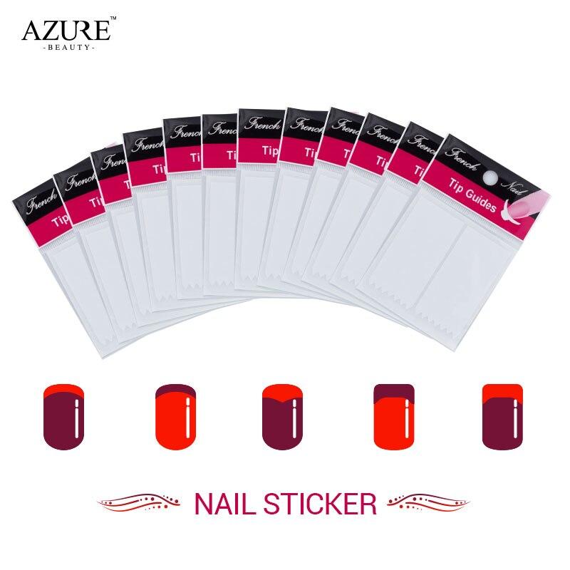 Azul Belleza 12 Unids/lote Uñas Guía French Manicure Nail Art Decals Sticker Con