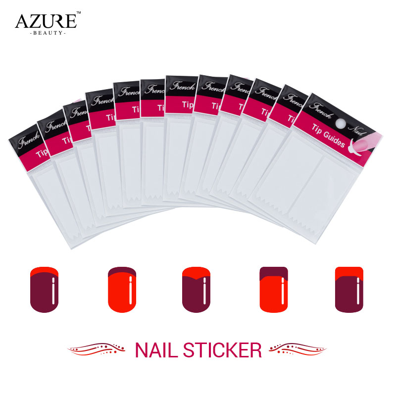Azure Beauty 12Pcs/lot Nails Sticker Tips Guide French Manicure Nail Art Decals Form Fringe Guides DIY Styling Beauty Tools 12pcs set nail art guide tips hollow stencils sticker french manicure template 3d vinyls decals form styling tool