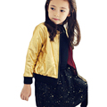Hot sale 2016 Baby Girls Gold/Black PU Leather Jacket Kids Spring & Autumn Outerwear Coat Child Toddler Girl Jackets