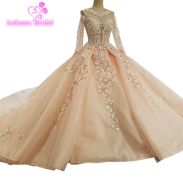 AOLANES 2018 New Arrival Aolanes Full Lace O-neck Chapel Train Pink Ball Gown Boheme Arabic Princess Backless Wedding Dresses