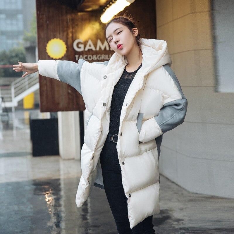Chaud Nouvelle Femme D'hiver Manteaux Était À Sauvage Lâche Mince Longue Mz3300 Patchwork Blanc Femmes Marée Veste Taille Laine Vêtements Grande Capuche De zgzaWUqnH