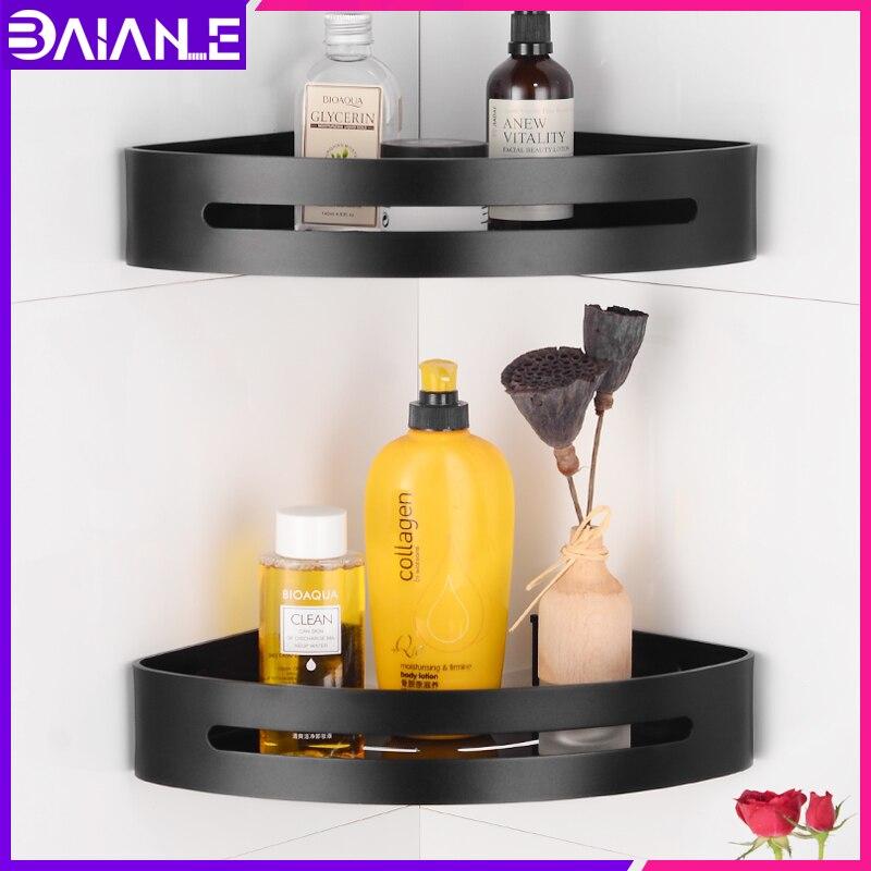 Bathroom Shelf Organizer Black Aluminum Corner Storage Holder Shelves Bathroom Shower Shampoo Basket Wall Mounted Cosmetic Rack