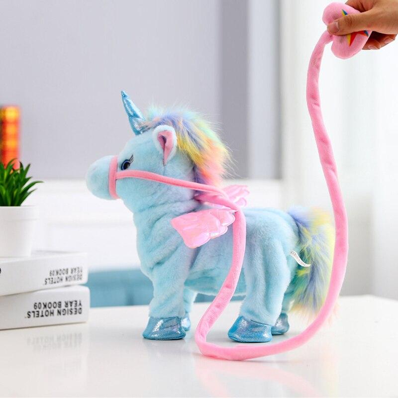 2018 Rosa eléctrica caminar hablando unicornio muñeca de peluche animales de peluche de juguete para niños niñas bebé niño niños juguetes de los niños