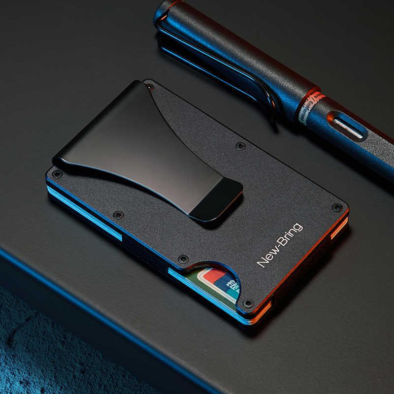 NewBring Металлический Мини зажим для денег модный бренд черный белый держатель для кредитных карт с RFID Анти-Вор кошелек для мужчин