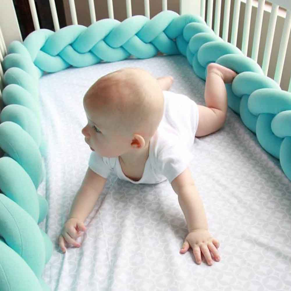 Baby Crib Fence Bumper Braided Long Knotted Ball Three Twists Braids Pillow Children's Anti-Collision Crib Enclosure Protection