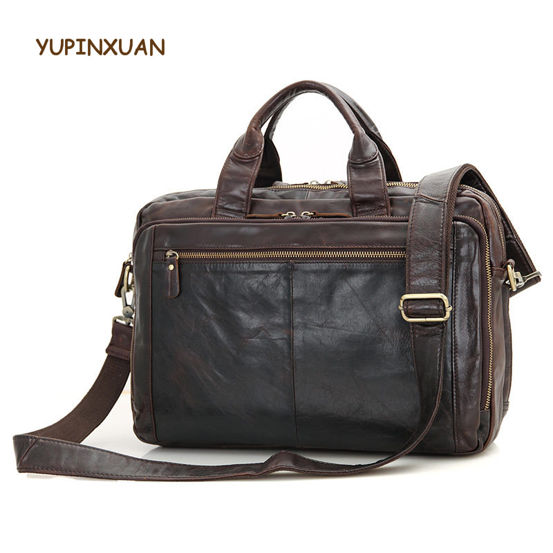 YUPINXUAN Mens 14 font b Laptop b font Real Leather Office Bags Luxury Cow Leather Crossbody