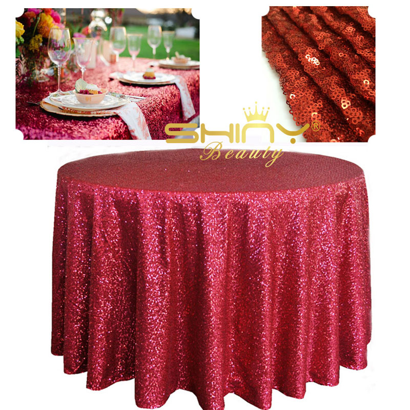 ShinyBeauty Perfectly Red Sequin Tablecloth 120 Round For Party  Decoration(China (Mainland))