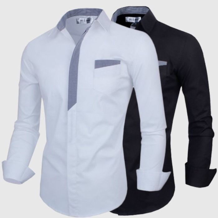 b70f55d6cb26 2015 New Stylish White Black Casual Men Shirts Long Sleeve Solid Casual  Designer Shirt Roupas Masculina Mens Brand Shirts-in Casual Shirts from  Men s …