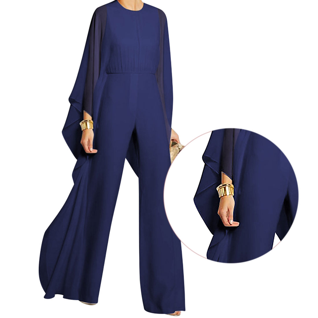 High Quality 2017 Spring Women Casual Elegant Fashion Solid Long Sleeves Wide Pants Jumpsuits