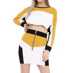 2018 Новое поступление 2 шт. Для женщин костюм толстовка юбка комплекты спортивные высокое качество с длинным рукавом Одежда Повседневное