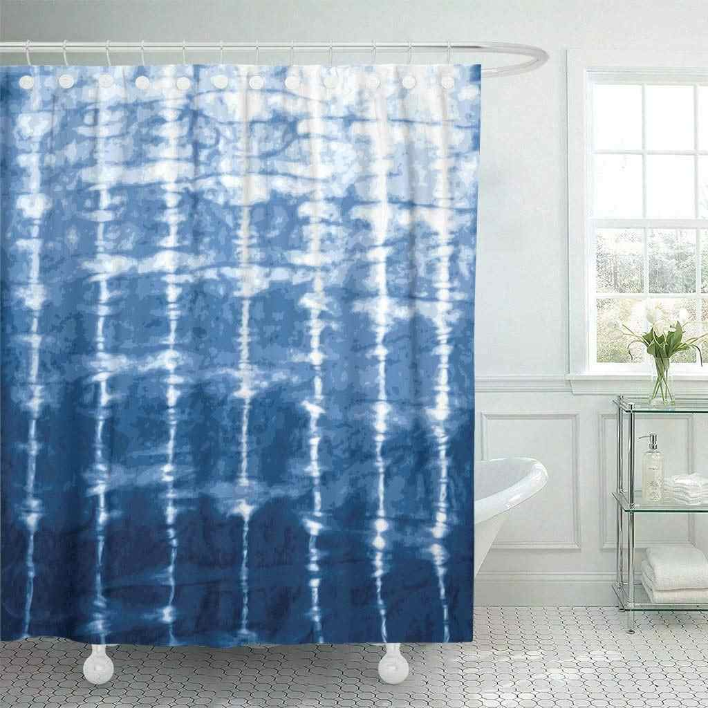 Eco-friendly Shower Curtain with Hooks Watercolor Shibori Indigo Blue Tie Dye Design Navy Batik Dyed Paint Traditional Water