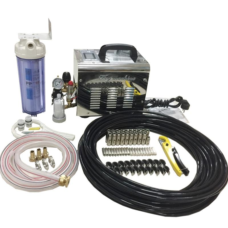 c001 high pressure misting system cooling fog machine 1l min pump mist nozzle kits patio cooling system
