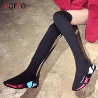 HQFZO Elastic Farbic Platform Women Long Sock Boots Over Knee Boots Casual Female Autumn Thigh High Boots Botas Mujer Black