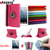 Free Shipping PU Leather Flip Smart Stand 360 Rotating Cases Screen Protector Case Cover For Apple