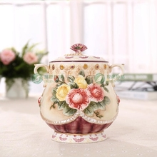 rose ceramic food container candy jar kitchen storage home decor handicraft porcelain figurines wedding decorations