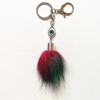12 pcs/ lot Fake Raccoon Fur Pompon Key Chains Zinc alloy Blue Eye Pom Car Key Ring Tassel Lobster Clasp Pendant Personality