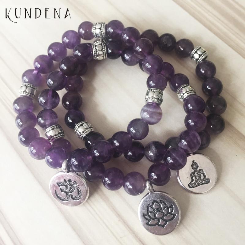 8mm Amethysts Lotus Charm Bracelet High Quality Om Yoga Buddhist Bracelet Mala Amethysts Purple Stone Stretch Bracelet Women