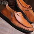 The summer men's leather shoes personality s casual pedal middle-aged men lazy summer ventilation slip tide