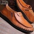 Zapatos de cuero de los hombres de la personalidad del verano s slip pedal hombres perezosos de ventilación de verano de mediana edad ocasional marea