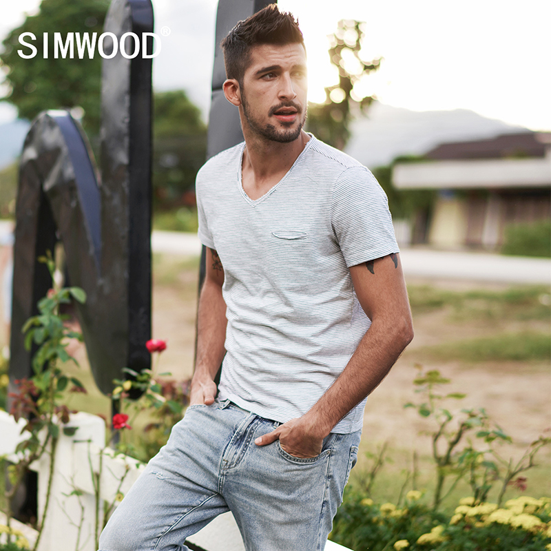 SIMWOOD New Arrive 2019 Fashion Casual Men   T     Shirt   Summer Short Sleeve Slim Fit Striped 100% Cotton Tops Tees 180204