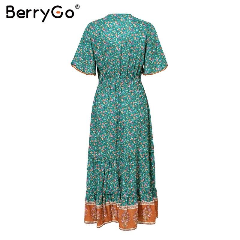 BerryGo women dresses Bohemian dresses print summer dress Short sleeve ruffled long maxi dress v-neck drawstring ladies vestidos 5