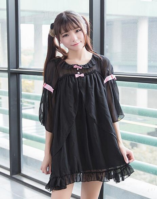 Mujeres lindas Arcos Princesa Vestido Lolita Camisón de Gasa Blanco Negro Suave Loungewear ropa de Dormir En Casa Vistiendo