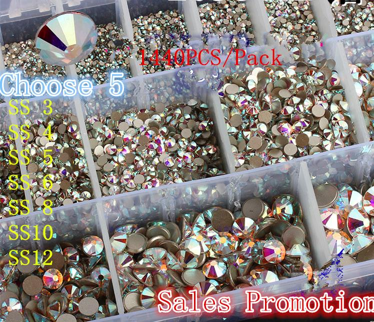 Wholesale You Choose Any 5Packs SS3 SS4 SS5 SS6 SS8 SS10 SS12 Clear Crystal AB Non Hotfix Nail Decorations Flatback Rhinestones купить