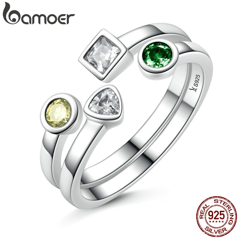 BAMOER Finger-Ring-Set Clear Adjustable 100%925-Sterling-Silver Jewelry CZ SCR106 Double-Layer