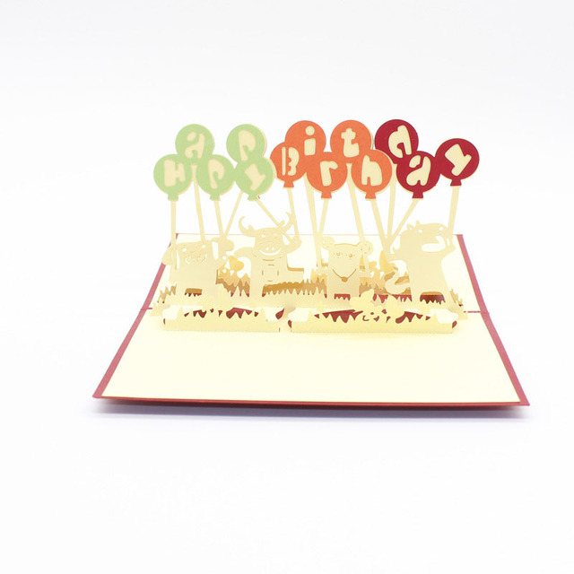 3D Laser Cut Handmade Cartoon Animal Happy Birthday Party Paper Invitation Greeting Cards PostCard Children Kids
