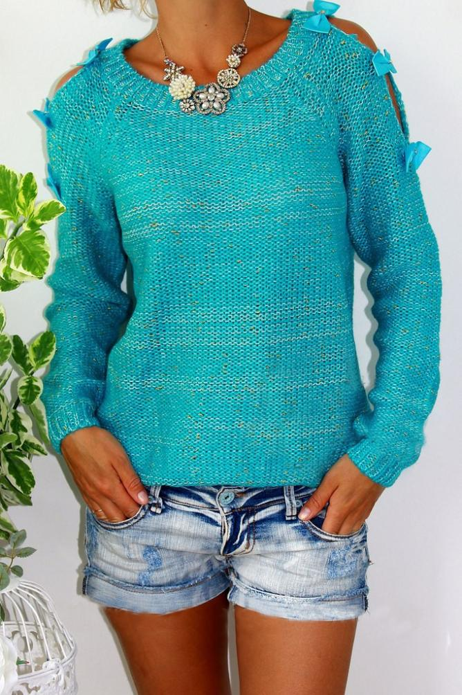 женский свитер реглан от горловины спицами