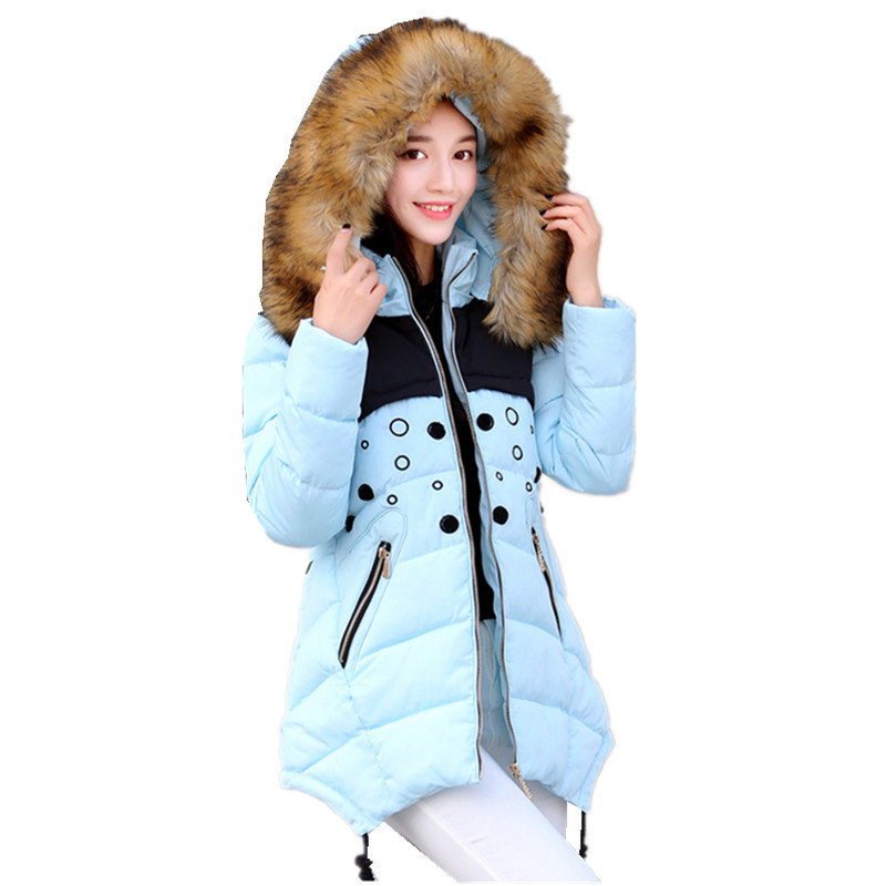 Women Winter Jacket and Coat 2016 Plus Size New Hooded Large Fur Collar Down Cotton Jacket Thick Warm Female Wadded Jacket W214 women winter coat leisure big yards hooded fur collar jacket thick warm cotton parkas new style female students overcoat ok238