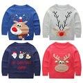 Trajes do natal para meninas camisola com veados lembranças para o ano novo crianças pullovers roupas Menino KD001