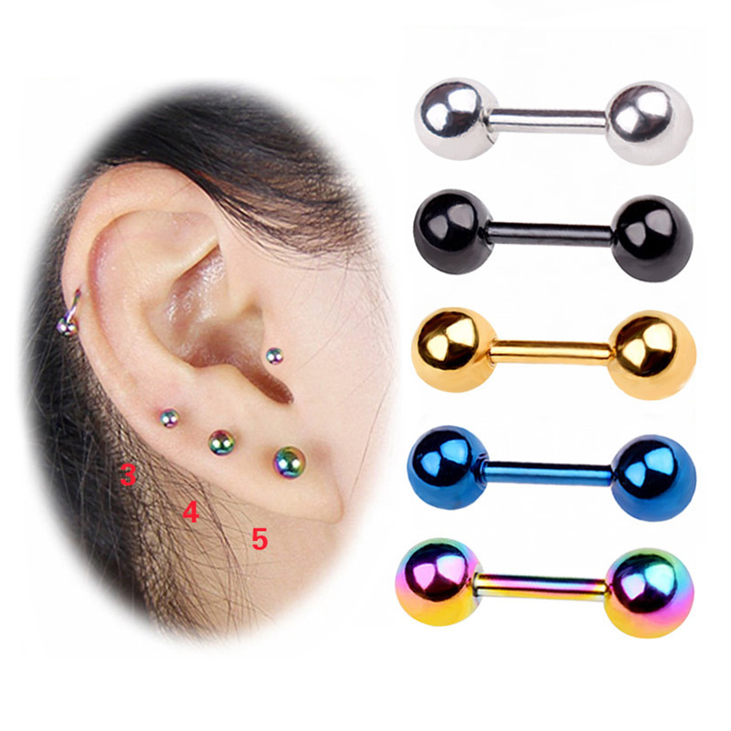 3pcs/pack Stainless Steel Small Ball Screw Ear Studs For Women Men Piercing Tragus Earrings Cute Ear Bone Nail/Stick
