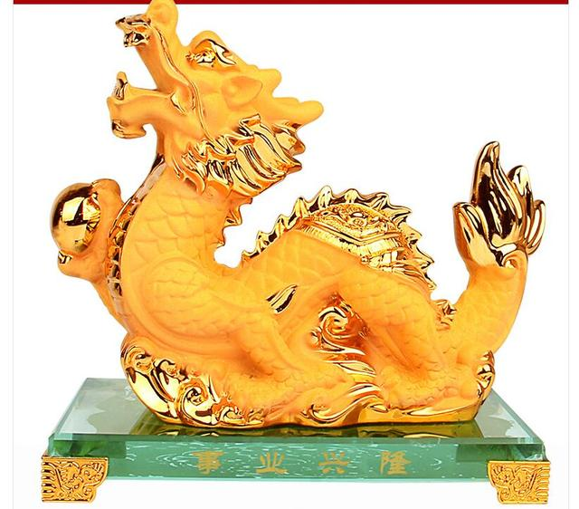 US $35 81 |gold Chinese zodiac Dragon snake big golden zodiac Animal brings  handicraft furnishing exquisite gift sculpture home decoration -in