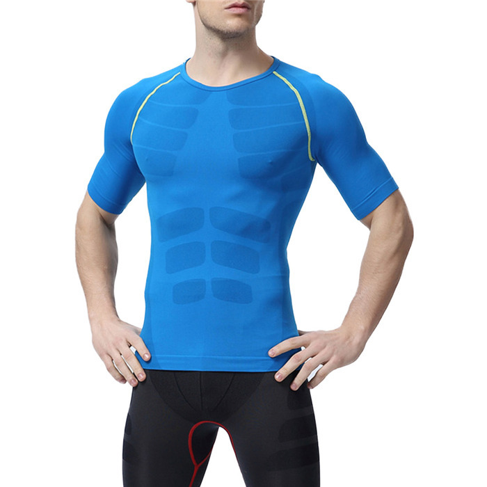 Men O Neck Compression Short Sleeve T Shirts Tops Tights font b Fitness b font Base