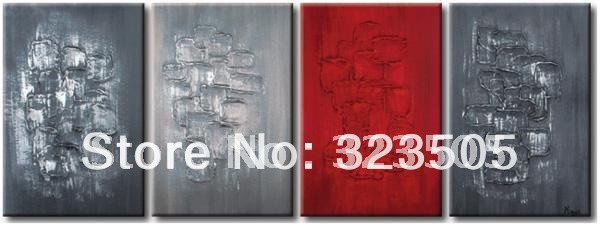 4 panel Abstract modern wall art <font><b>home</b></font> <font><b>decoration</b></font> <font><b>Simple</b></font> handpainted green oil painting on canvas free shipping To USA Russia