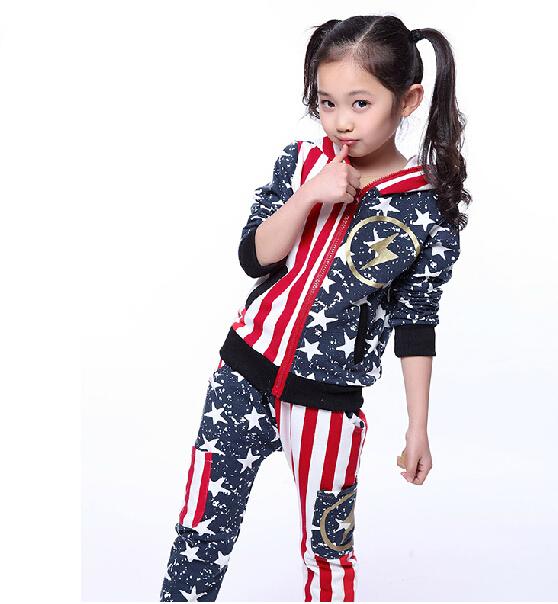 Meninas Vestuário das crianças Conjunto Esportes Dos Miúdos Roupas da Longo-Luva Hoodies & Pants Twinset Terno Conjunto de Roupas Meninas & fatos de treino